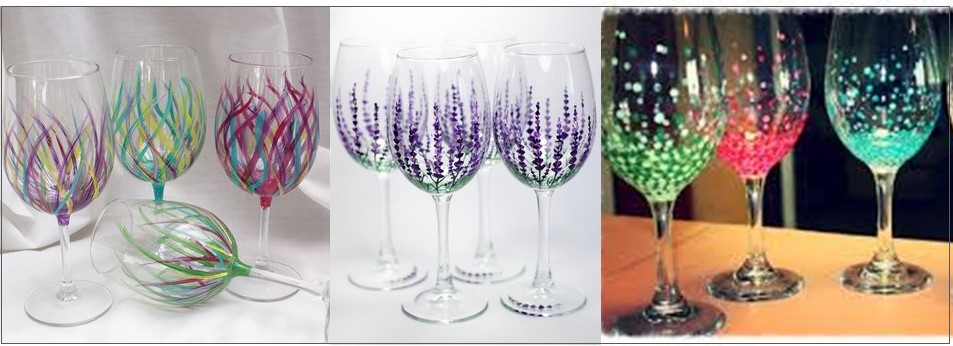 paint a wine glass or 2 glasses wine bar