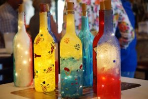 Painting Lighted Wine Bottles @ Glasses Wine Bar