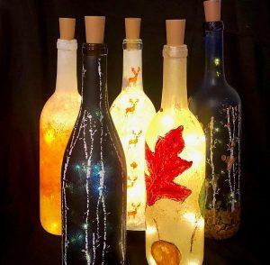 Paint Lighted Wine Bottles @ Glasses Wine Bar
