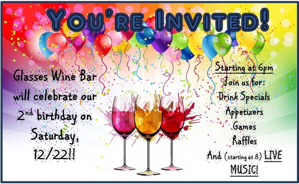 You're Invited to Our Birthday Party @ Glasses Wine Bar