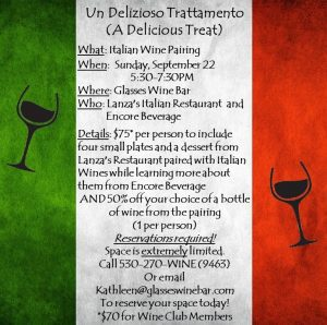 Italian Wine & Food Pairing @ Glasses Wine Bar