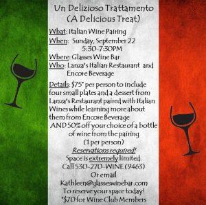 Italian Wine & Food Pairing @ Glasses Wine Bar